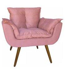 poltrona decorativa opalla pés palito suede rosa - ds móveis