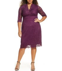 plus size women's kiyonna scalloped boudoir lace sheath dress, size 5x - purple