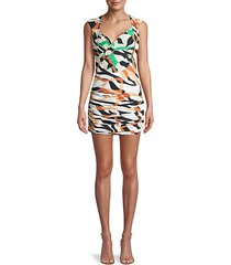 abstract ruched bodycon mini dress