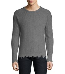 distressed-trim cashmere pullover