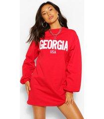 georgia applique slogan sweat dress, red