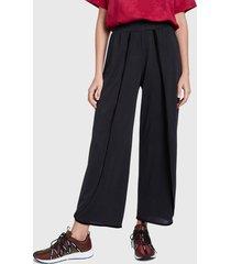 pantalón desigual cupro pant wrap plain col negro - calce holgado