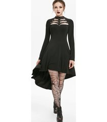 rivet embellished faux leather insert lattice high low gothic dress