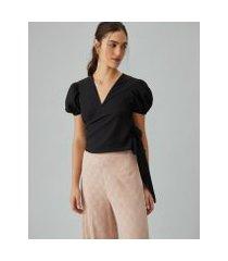 amaro feminino blusa transpassada com manga bufante, preto