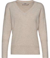 amelia v-neck stickad tröja beige cream