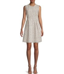 rebecca taylor women's pleated tweed cotton-blend mini dress - beige - size 10