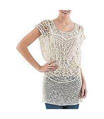 pima cotton crocheted vest, 'arequipa alabaster' (peru)