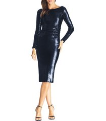 women's dress the population emilia sequin long sleeve cocktail dress, size small - blue