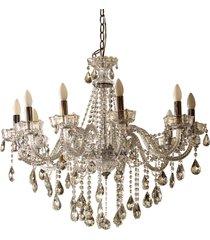 lustre de cristal decorativo prince 10 lâmpadas