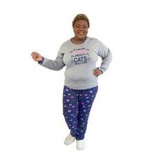 "pijama feminino ""if you're talking"" cinza e azul plus size"