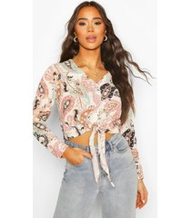 paisley knot front shirt, pink