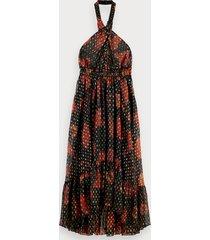 scotch & soda midi-jurk met bladerenprint