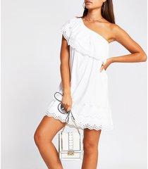 river island womens white one shoulder cut work mini smock dress
