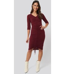 na-kd pull string dress - red