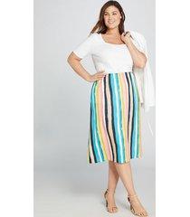 lane bryant women's striped satin midi skirt 14/16 hampton stripe