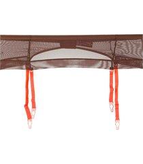 maison close mesh garter belt - brown