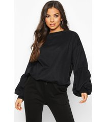 puff sleeve sweatshirt, black