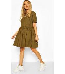 cotton poplin smock dress, khaki