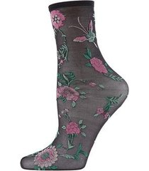 natori mariposa sheer anklet socks, women's, black natori