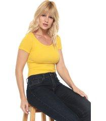 blusa lunender lisa amarela - amarelo - feminino - algodã£o - dafiti