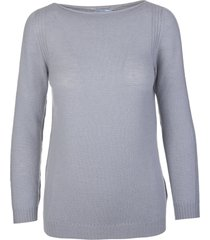fedeli woman dusty grey cashmere pullover with boat neck