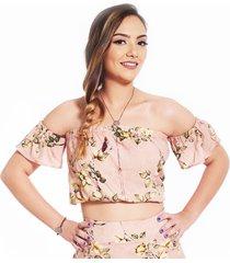 blusa ocna brasil top ombro reto rosa estampado