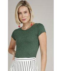 blusa feminina básica botonê manga curta decote redondo verde 1