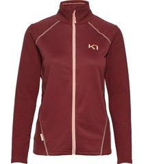 kari f/z fleece sweat-shirt tröja röd kari traa