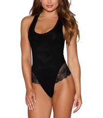 dreamgirl women's soft jersey bodysuit with racer back and lace trim