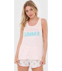 short-doll cor com amor summer off-white/rosa - off white - feminino - algodã£o - dafiti