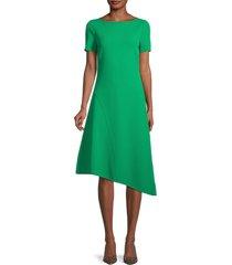 st. john women's bateau-neck asymmetrical dress - green - size 2