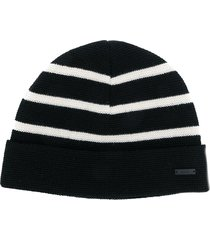 ami paris breton stripes beanie - black