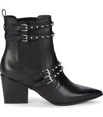 rad rockstud-embellished leather heeled booties