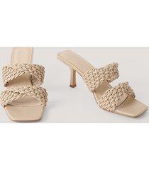 na-kd shoes sandaler med dubbla remmar - beige