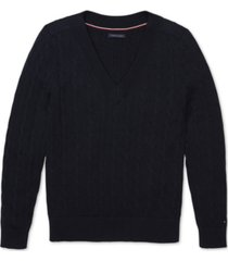 tommy hilfiger adaptive women's v-neck sweater with velcro shoulder closures