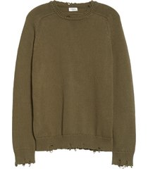men's saint laurent distressed crewneck sweater, size xx-large - green