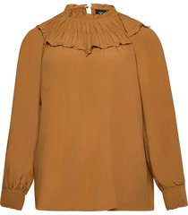 blouse long sleeves plus smock blus långärmad orange zizzi