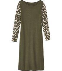 basic-jurk met bio-merinowol en jacquard mouwen, salie-motief