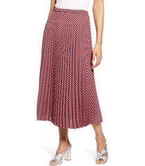 petite women's halogen pleated midi skirt, size large p - red