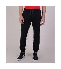 calça de sarja masculina jogger com bolsos preta