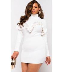 akira plus fabulous friday fringe long sleeve turtleneck mini dress