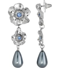 2028 silver-tone faux gray imitation pearl with light sapphire flower linear earrings