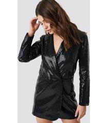 linn ahlborg x na-kd sequin dress jacket - black