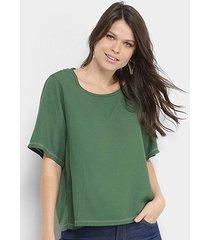 blusa colcci lisa costuras ampla feminina