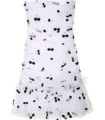 brognano cherry-print strapless mini dress - white