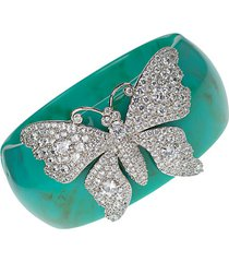 rhodium-plated, resin & pavé crystal butterfly cuff bracelet