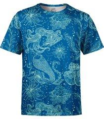 camiseta estampada over fame sereia e plantas marinhas azul