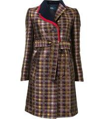 kolor check-print contrast coat - gold