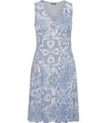 framdot 3 dress knälång klänning blå fransa