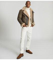 reiss hardy - shearling aviator jacket in brown, mens, size xxl